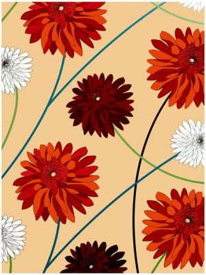 Dahlia Natural Wrapping Paper