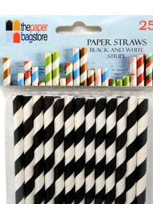 Paper Straw Black and White Stripe