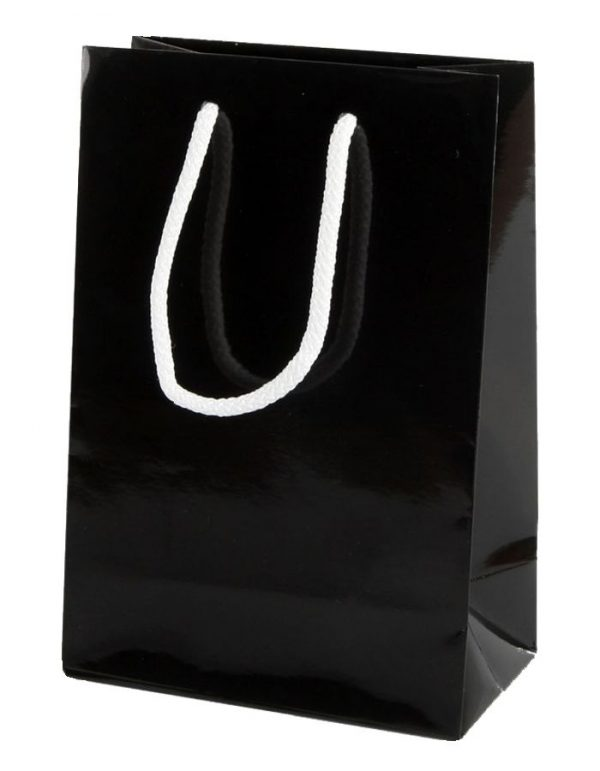 Black Gloss Paper Party Bags with Rope Handles