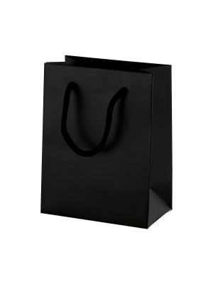 Black Matt Boutique Paper Carrier Bags with Rope Handles (X Small) 11.5cm wide