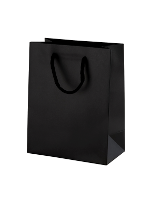 Black Matt Boutique Paper Carrier Bags with Rope Handles (Small) 15cm wide