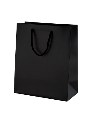 Black Matt Boutique Paper Carrier Bags with Rope Handles (Medium) 20cm wide