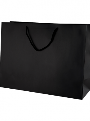 Black Matt Boutique Paper Carrier Bags with Rope Handles (Large) 40cm wide