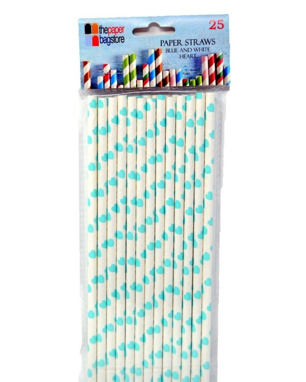 Paper Straw Blue and White Heart