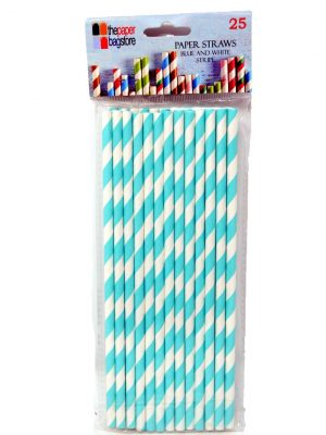 Paper Straw Blue and White Stripe