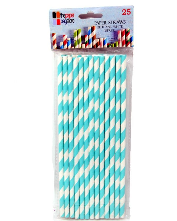Paper Straw Blue and White Stripe
