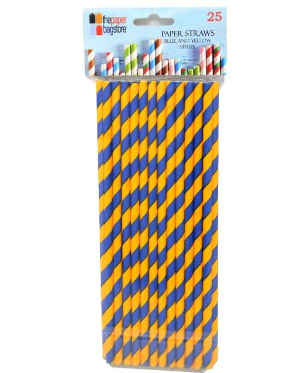 Paper Straw Blue and Yellow Stripe