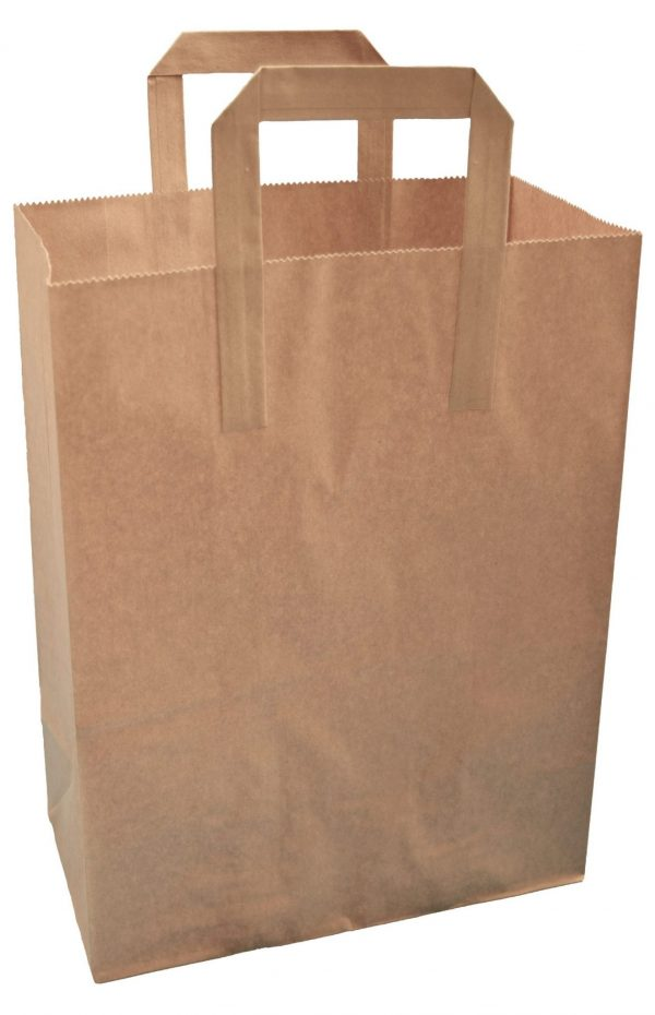 Brown Folded Handle Paper Carrier Bags (Large) 26cm wide