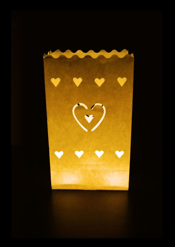 """Pack of 10 """"Heart 2 Design"""" Paper Candle Bags - Thepaperbagstore™"""