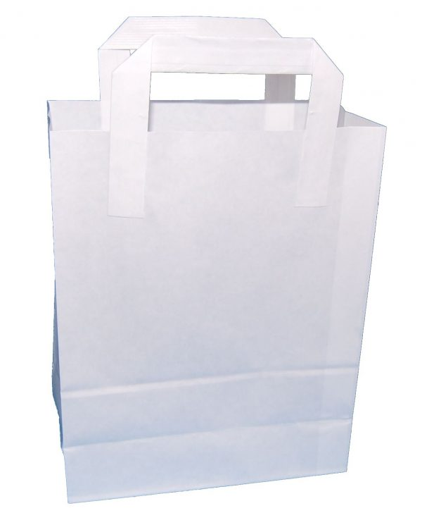 White Folded Handle Paper Carrier Bags (Small) 18cm wide