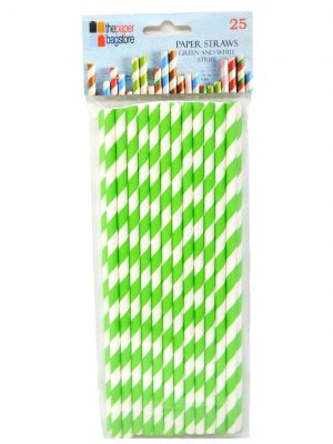 Paper Straw Green and White Stripe