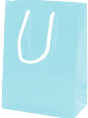 Light Blue Gloss Paper Party Bags with Rope Handles