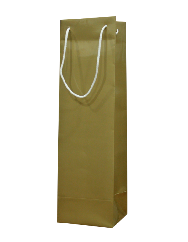 Gold Gloss Wine Bottle Bags with Rope Handles