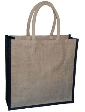 Natural Jute Bag and Black Trim with Luxury Padded Handle (Large) 40cm wide
