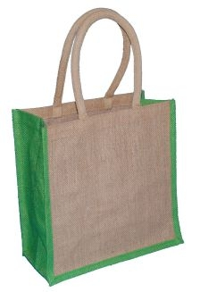 Natural Jute Bag and Lime Trim with Luxury Padded Handle (Medium) 30cm wide