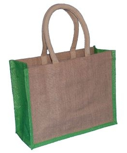 Natural Jute Bag and Lime Trim with Luxury Padded Handle (Medium Wide) 33cm wide