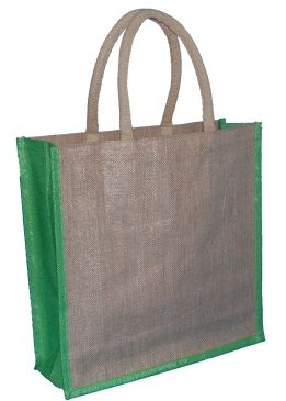 Natural Jute Bag and Lime Trim with Luxury Padded Handle (Large) 40cm wide