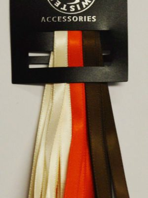 3 Satin Ribbon Pack Orange/Ivory/Brown