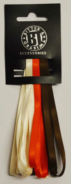 3 Satin Ribbon Pack Orange/Ivory/Brown