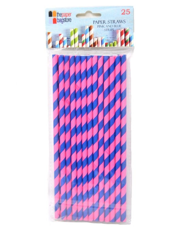 Paper Straw Blue and Pink Stripe