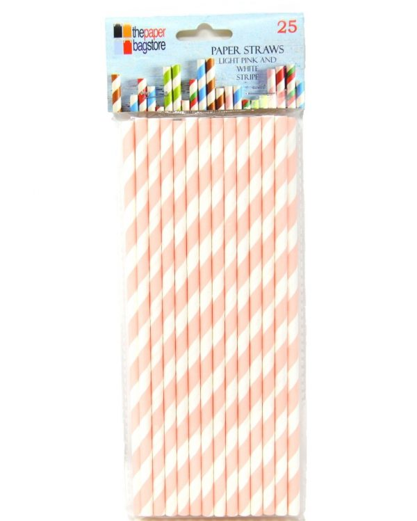 Paper Straw Light Pink and White Stripe