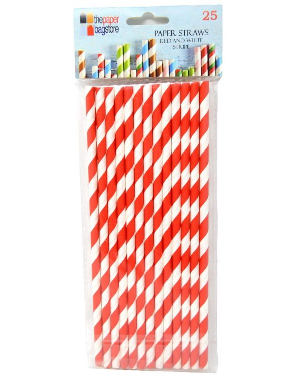 Paper Straw Red and White Stripe