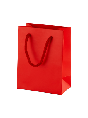 Red Matt Boutique Paper Carrier Bags with Rope Handles (X Small) 11.5cm wide