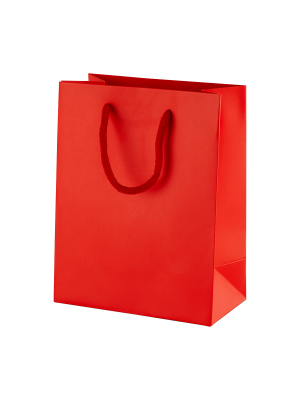 Red Matt Boutique Paper Carrier Bags with Rope Handles (Small) 15cm wide