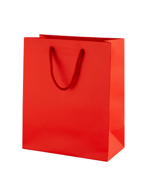 Red Matt Boutique Paper Carrier Bags with Rope Handles (Medium) 20cm wide