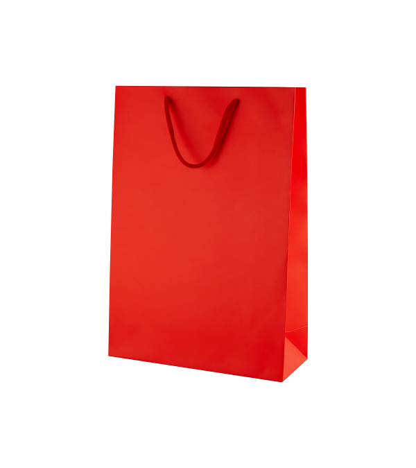 Red Matt Boutique Paper Carrier Bags with Rope Handles (Medium Tall) 25cm wide