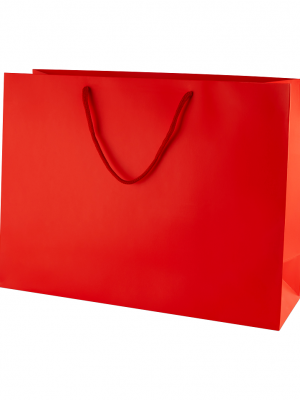 Red Matt Boutique Paper Carrier Bags with Rope Handles (Large) 40cm wide