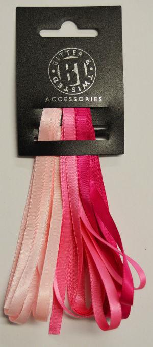 3 Satin Ribbon Pack Light Pink/Hot Pink/Magenta