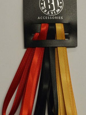3 Satin Ribbon Pack Red/Black/Gold
