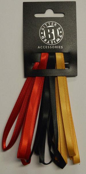 3 Satin Ribbon Pack Red/Black/Gold