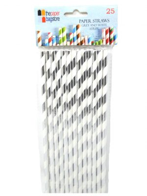 Paper Straw Silver and White Stripe