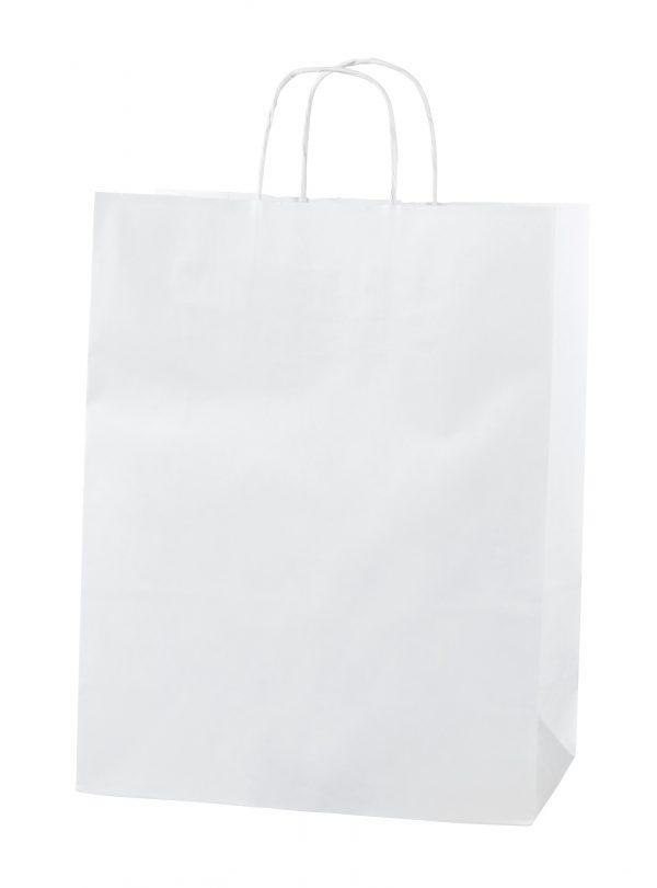 White Twist Handle Paper Carrier Bags - Size Medium 25 x 11 x 31cms