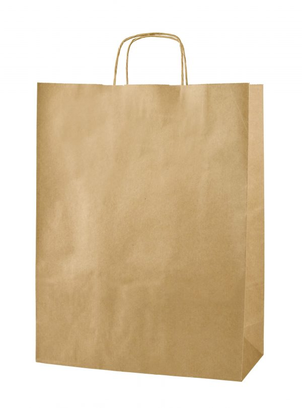 Brown Twist Handle Paper Carrier Bags - Size Large 32 x 12 x 41cms