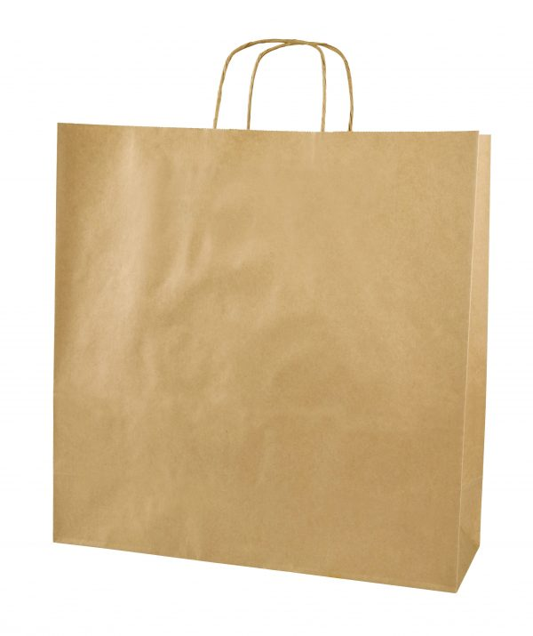 Brown Twist Handle Paper Carrier Bags - Size X Large 39 x 14 x 39.5cms