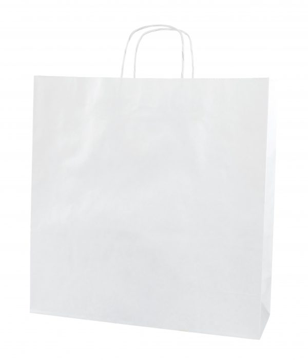 White Twist Handle Paper Carrier Bags - Size X Large 39 x 14 x 39.5cms