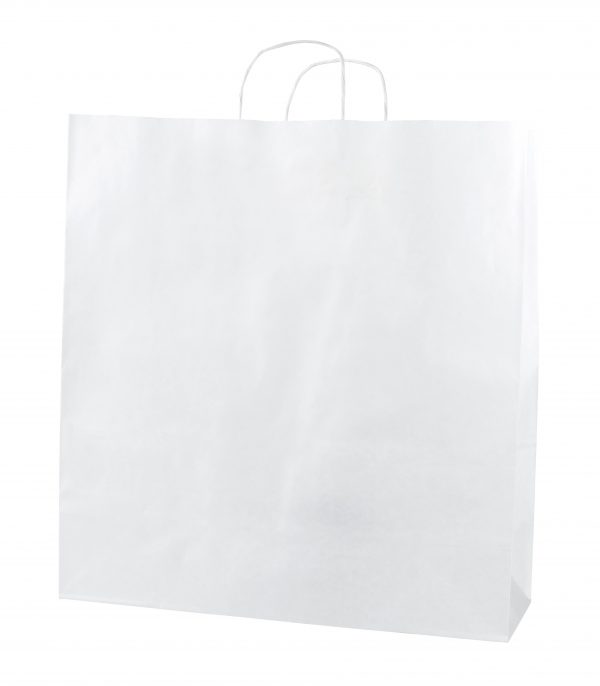 White Twist Handle Paper Carrier Bags - Size XX Large 45 x 17 x 47cms