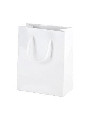 White Gloss Boutique Paper Carrier Bags with Rope Handles (X Small) 11.5cm wide