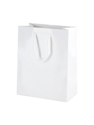 White Gloss Boutique Paper Carrier Bags with Rope Handles (Small) 16cm wide