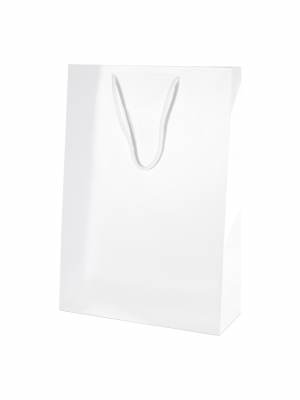 White Gloss Boutique Paper Carrier Bags with Rope Handles (Medium Tall) 25cm wide