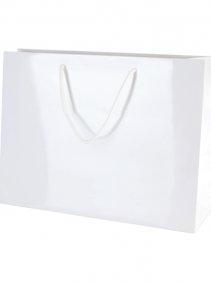 White Gloss Boutique Paper Carrier Bags with Rope Handles (Medium Wide) 35cm wide