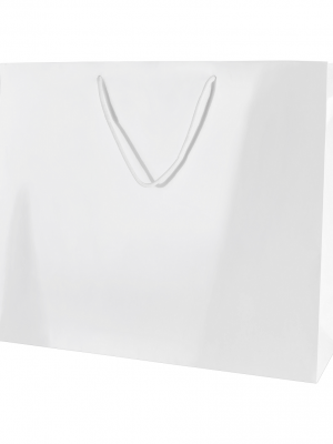 White Gloss Boutique Paper Carrier Bags with Rope Handles (Large) 41cm wide