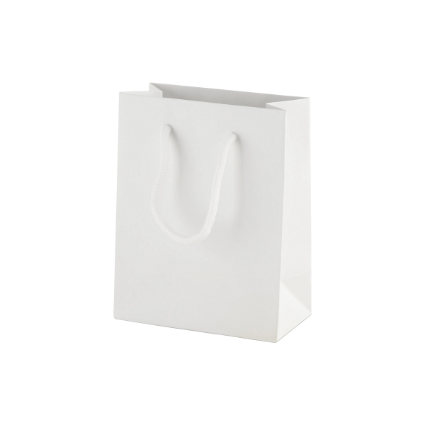 White Matt Boutique Paper Carrier Bags with Rope Handles (X Small) 11.5cm wide