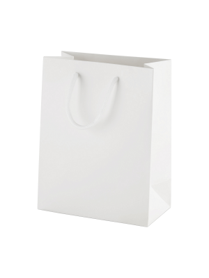 White Matt Boutique Paper Carrier Bags with Rope Handles (Small) 15cm wide