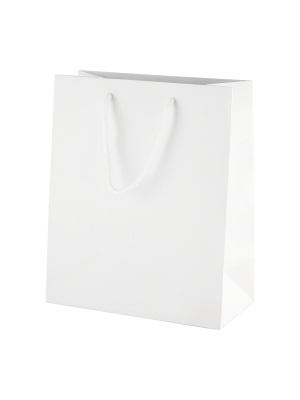 White Matt Boutique Paper Carrier Bags with Rope Handles (Medium) 20cm wide