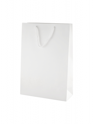 White Matt Boutique Paper Carrier Bags with Rope Handles (Medium Tall) 25cm wide