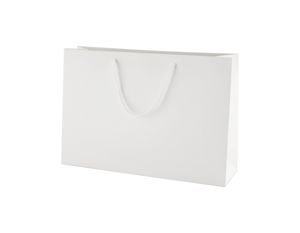 White Matt Boutique Paper Carrier Bags with Rope Handles (Medium Wide) 35cm wide